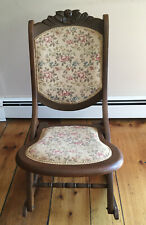 Vintage Floral Rose Carved Folding Tapestry Needlepoint Rocking Chair