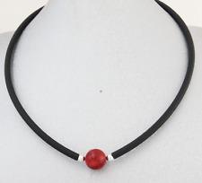 Kautschuk schwarz Kette Halskette Collier Korallen Perle rot 925 Silber Damen I