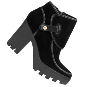 Calvin Klein Jeans Sable Suede Damen Leder Nubuk Mode Stiefeletten RE9668BLK neu