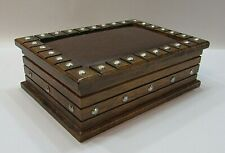 Mele Leatherette Solid Wood Metal Tacks Men's Jewelry Box Gold Lining FREE S/H