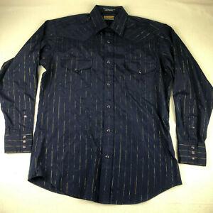 Panhandle Slim Mens 16-35 Blue Gold Stripe Snap Button Long Sleeve Western Shirt