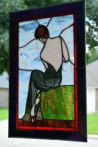"""""""Lady In Gown"""" Stained Glass Window Panel  ( 23 x 15 )"""