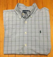 Ralph Lauren Classic Fit Polo Shirt - Blue Green Plaid- 16 Large - Southern EUC