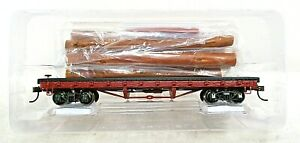 OLD TIME 40' FLAT LOG CAR WITH LOAD- HO SCALE
