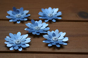 15 SKY BLUE SHIMMER 3D FLOWERS WEDDING STATIONERY, TABLE CONFETTI, TOPPERS