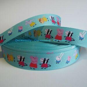 Per Metre - Peppa Pig - Blue 22mm  - Printed Grosgrain Ribbon / Cake/ Hair Bow