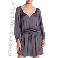 NWT Young Fabulous & Broke Womens Large Slate Grey Silky Drawstring Boho Dress