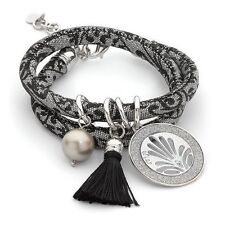 BOCCADAMO ITALY $112 Choker Necklace Bracelet JACQUARD Black Tassle & Silver MYA