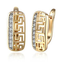 18K Gold Plated Pave Greek Leverback Earrings with Crystals ITALY