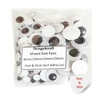 Googly Eyes SELF ADHESIVE Peel and Stick Mixed Size Packs 8 10 15 20mm