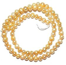 NP328f Soft Gold 4-5mm Semi-Round Potato Pearl Gemstone Beads 15""