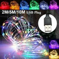 1/5/10M USB 100LED Silver Waterproof Wire String Fairy Light Strip Lamp Party Y1