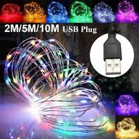 1/5/10M USB 100LED Silver Waterproof Wire String Fairy Light Strip Lamp Party BE