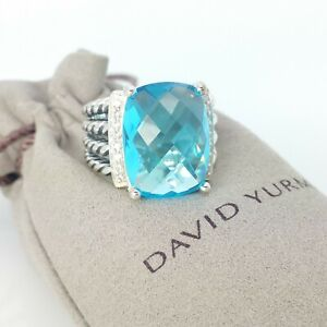 David Yurman Sterling Silver 12x16mm Wheaton Blue Topaz & Diamond Ring Size 7