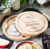 40th Wedding Anniversary Couple Gifts Personalised Engraved Cheeseboard Gift Set