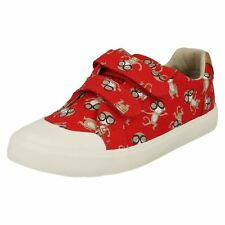 Clarks 10g Comic Air Red Combi Boys Girls Canvas Leather Velcro Summer Shoes