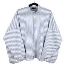 Eskandar Womens White Blue Striped Boxy Lagenlook Button Shirt Blouse Size 1