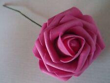 10 EDLE,GROßE  FOAM - ROSEN  in PINK  - FUCHSIA  künstliche ROSEN  ! BLÜTE 8 cm
