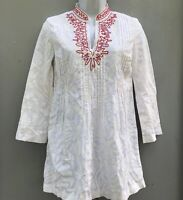 Lilly Pulitzer XS Blouse White Embroidered Pintuck Cotton V Neck Tunic Top