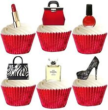 BLING MAKEUP HANDBAG SHOES edible cup cake toppers decorations *STAND UPS*