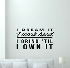 Gym Wall Decal Work Hard Fitness Motivation Vinyl Sticker Quote Decor Art 349xxx