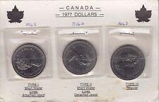 1977 Canada Three Type Dollars - Mounted on Card