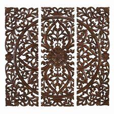 "Three Piece Carved Wood Wall Art Decor  48"" x 48"""