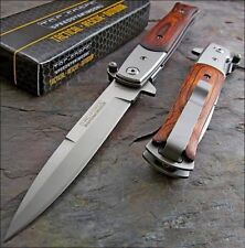 "9"" SPRING ASSISTED OPEN RESCUE KNIFE WOOD FOLDING STILETTO KNIFE TAC FORCE"