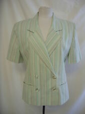 Ladies Suit Jacket - Greg Whelan, size 12, green striped, short sleeve - 7374