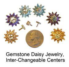 NEW Gemstone Daisy Earrings-18K Gold-Sapphire Topaz Amethyst Garnet-Any Stone OK