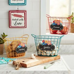 """The Pioneer Woman Spring Wire Chalkboard Basket Bundle, Yellow Teal & Red, 10.7"""""""