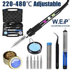 WEP Soldering Iron Kit 60W Welding Adjustable Temperature 6 Tips Pump 12 in 1