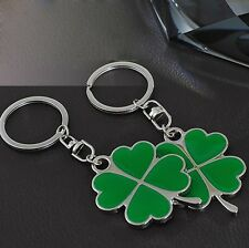 Lucky Four Leaf Clover Keychain Metal Keyring Green Shamrock Women's  Men Gifts