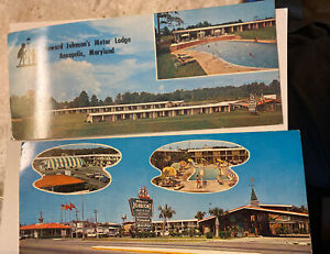 2 vintage Howard Johnson's motor lodge long postcards Myrtle Beach and Annapolis