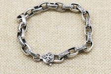 B21 Herren Armband 8 mm Vajra Mantra buddhistisch 22 cm Sterling Silber 925