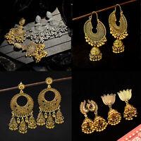 Women Gold Silver Indian Bollywood Women Jhumka Earring Wedding Ethnic Jewelry