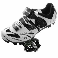 New Venzo Mountain Bike Bicycle Cycling Shoes White Black Men's 7.5 Us 41 Eu