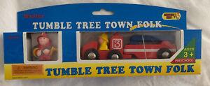 Tumble Tree Town Folk Wooden Fireman & Fire Engine Truck Fits Thomas Train Track