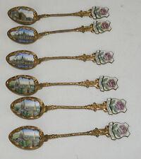 6 Vintage Budapest Painted Enamel Souvenir Collector Spoons