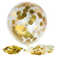 12x Gold Confetti Filled Transparen Balloons 12 Inch for Wedding Birthday P E7P6