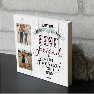 Large Personalised Photo Gift Wooden Block Best Friend Friendship Picture Plaque
