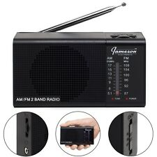 *NEW* Jameson Electronics AM/FM Portable Battery Operated Black Radio Transistor