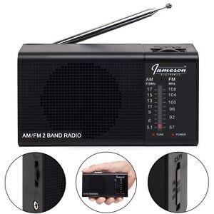 *NEW* Jameson Electronics AM/FM Portable Battery Operated Black Radio Transistor