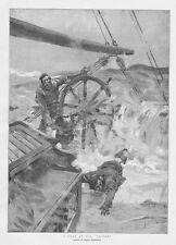 FRANK BRANGWYN A Gale at Sea; Pooped - Antique Print 1893