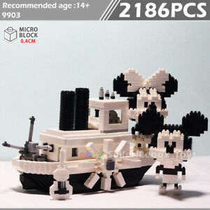 Building Blocks Micro Steamboat Willie Mickey Minnie Model Creative Gift DIY Toy