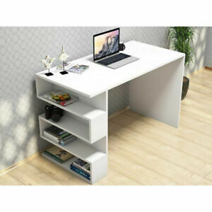 Small Computer Desk Home Office PC Laptop Desk Study Gaming Table With Shelves