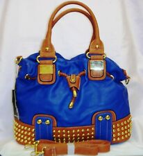 Women Italian Style Faux Leather Studded Hand Bag Shoulder Bag With Long Strap