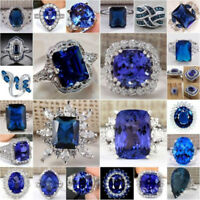Unisex Gorgeous 925 Silver Filled Blue Sapphire Rings Wedding Crystal Jewelry