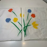 vintage pair pillowcase white tulip print standard size cotton poly blend 70