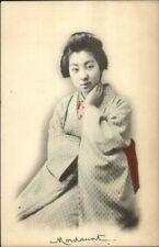 Beautiful Japanese Geisha Woman Full Costume c1905 UDB Postcard